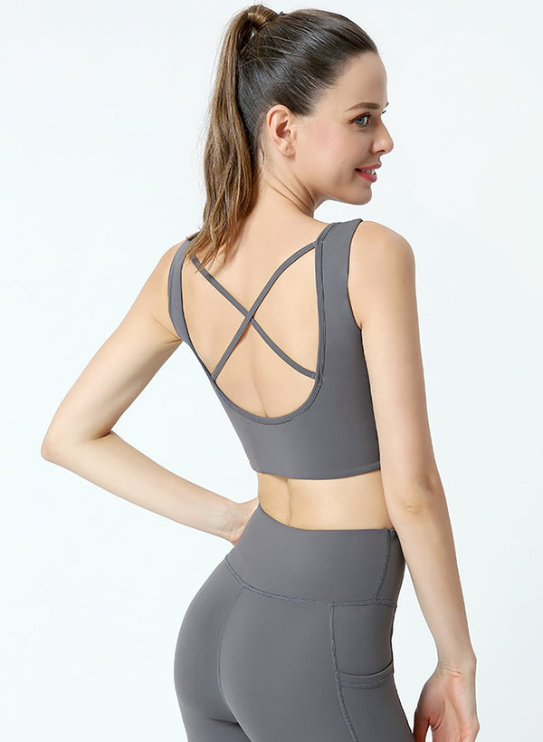 Backless Body Shaping Women Solid Sport Bra Yoga Top