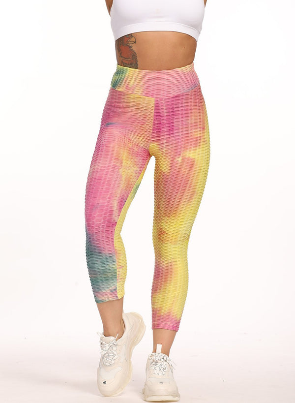 Stretchy Textured Tie-dyed Ruched Sports Cropped Leggings