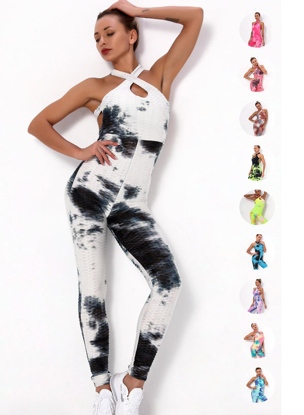 Tie Dyed Women Backless Long Sports Jumpsuit
