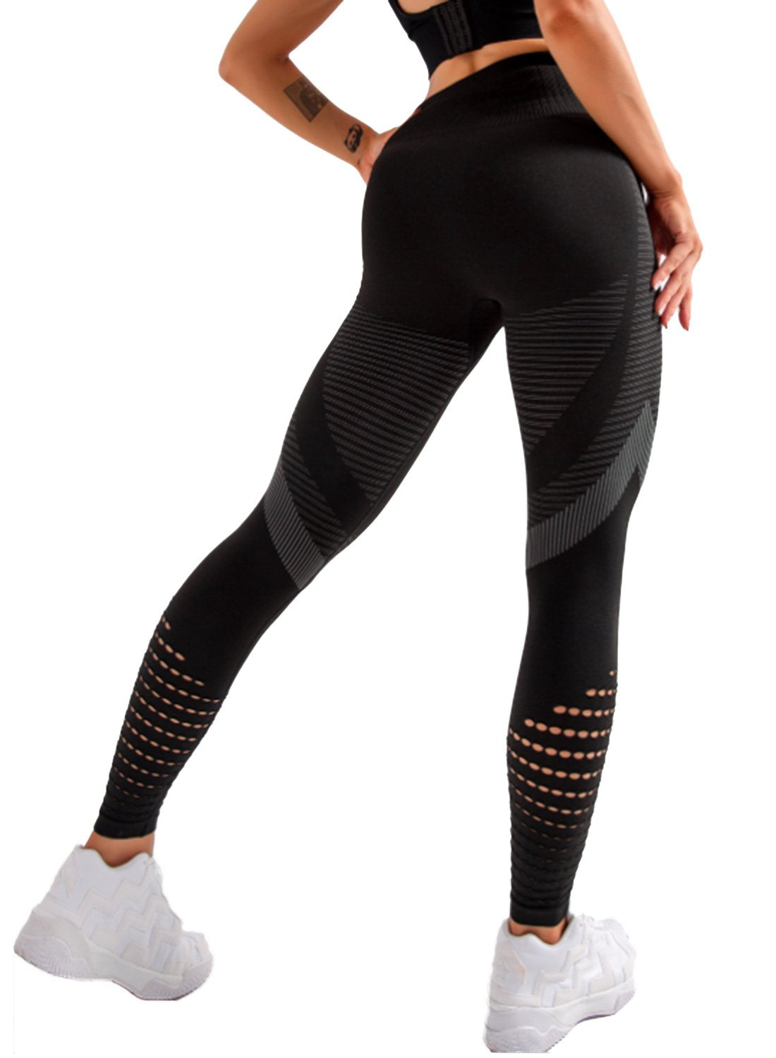 Women's Hollow Out Breathable Seamless Yoga Pants-JustFittoo