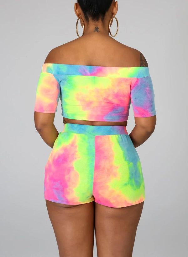 Tie-dyed Off Shoulder Tight Fit Two Pieces Set