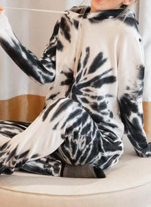 Black and White Soft Tie Dyed Casual Hoodie Set