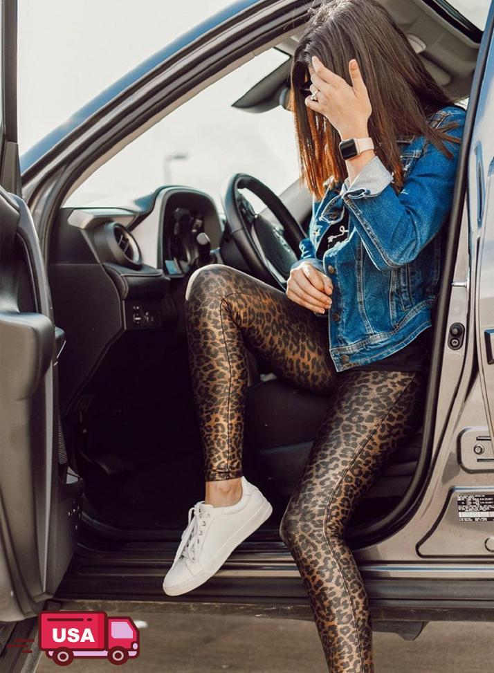 Leopard Print High Waist Faux Leather Pants for Women