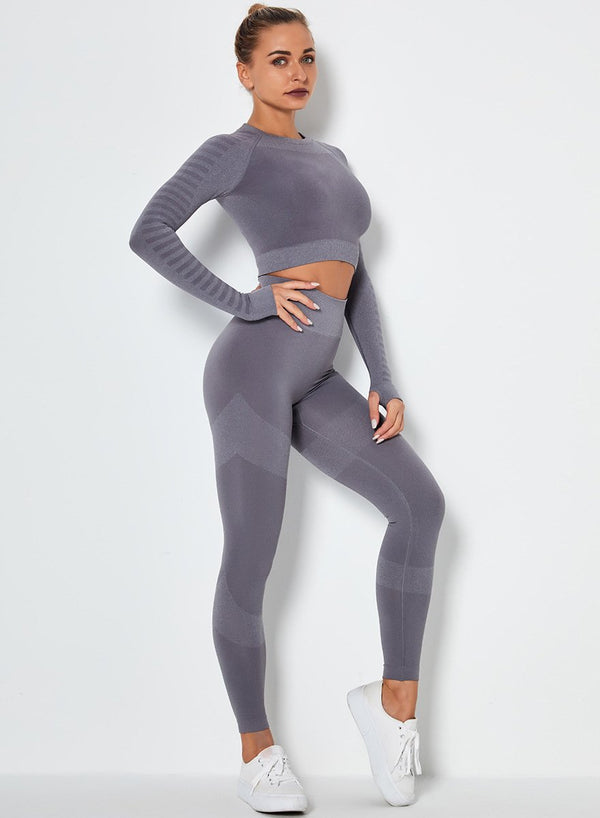 Seamless Long Sleeve Crop Top and Sport Legging