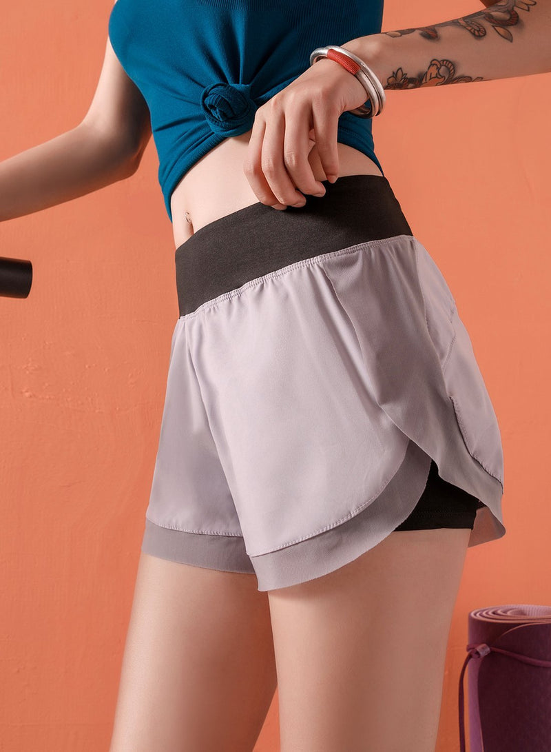 Quick Dry Faux Two-piece Sports Security Shorts