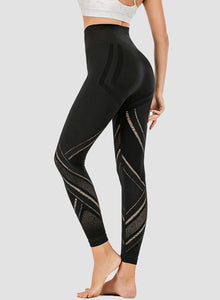 Irregular Hollow Out High Rise Yoga Pants-JustFittoo
