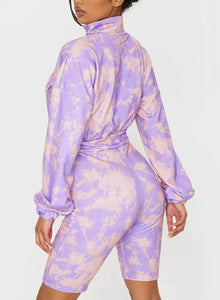 Fashion Tie-dyed Long Sleeve Knee Length Jumpsuit