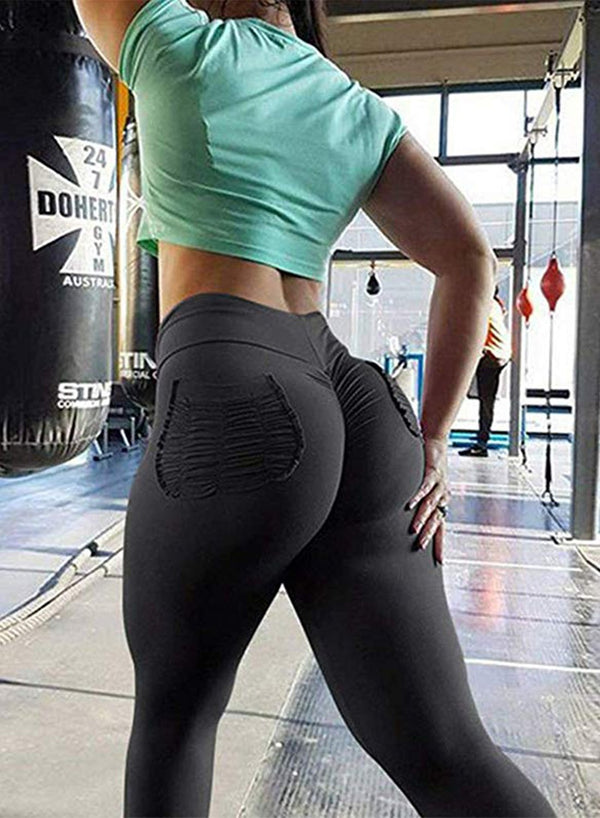 Solid High Waist Workout Yoga Pants-JustFittoo
