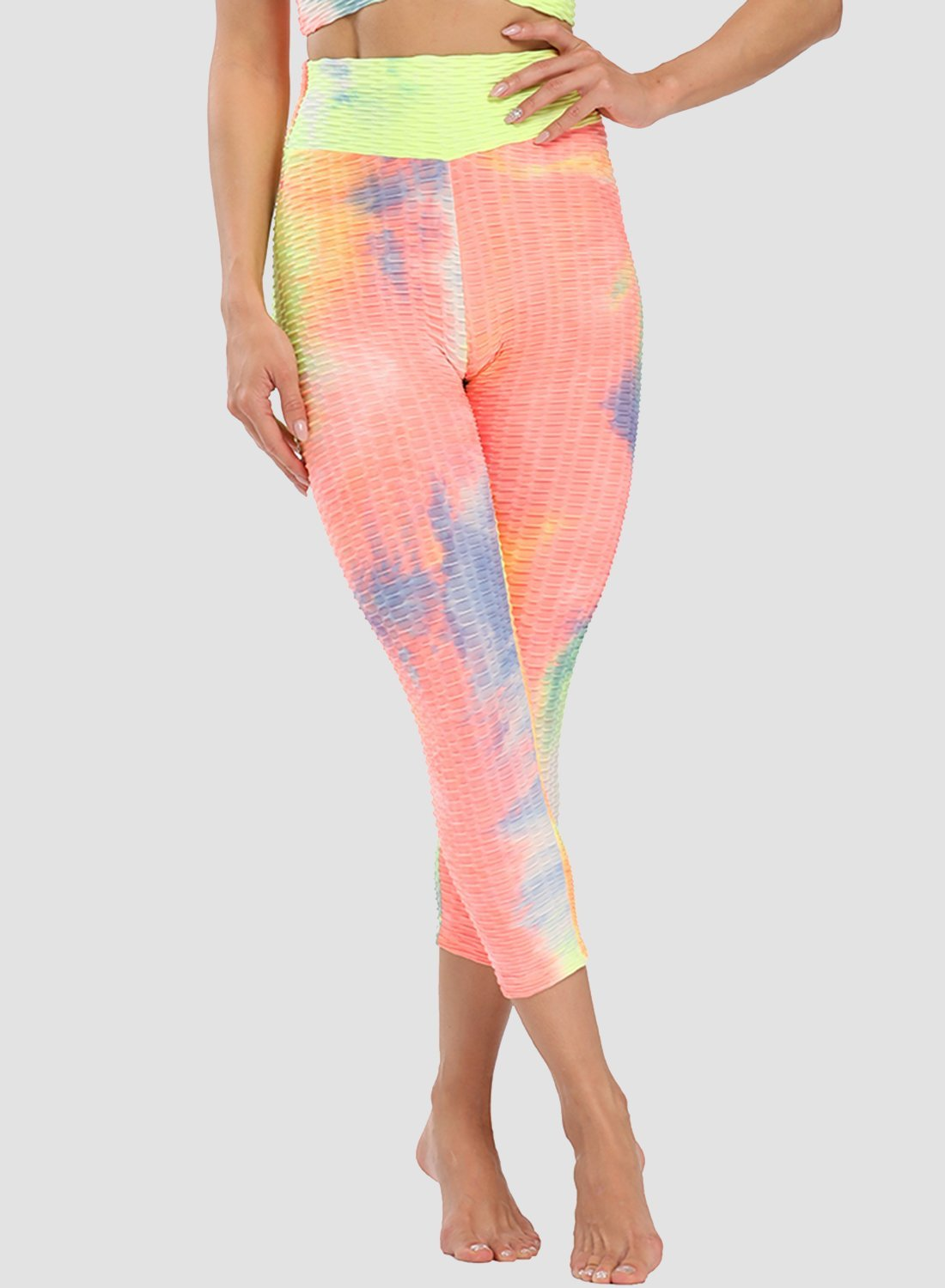 Super Stretchy Textured Tie-dyed Ruched Capris Leggings