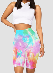 Women Fashion Style Tie Dyed Bike Shorts
