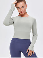 Load image into Gallery viewer, Women Long Sleeve Crop Sport Tops