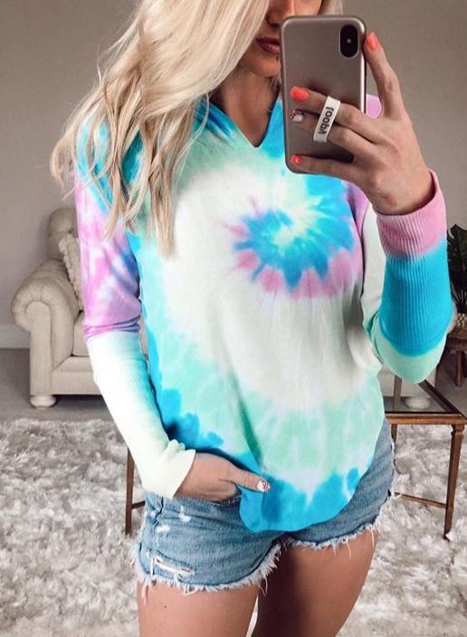 Long Sleeve and Short Tie-dyed Casual Sets