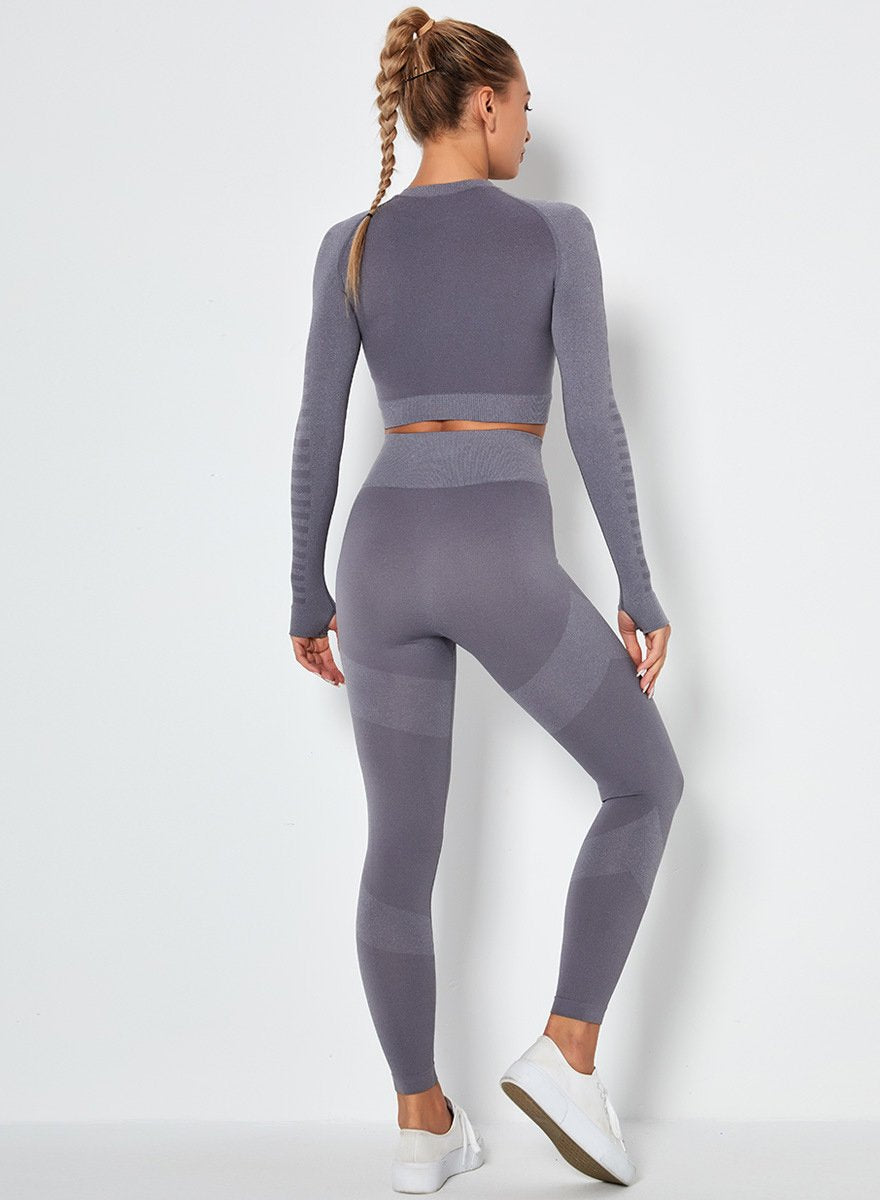 Seamless Long Sleeve Crop Top and Sport Legging-JustFittoo