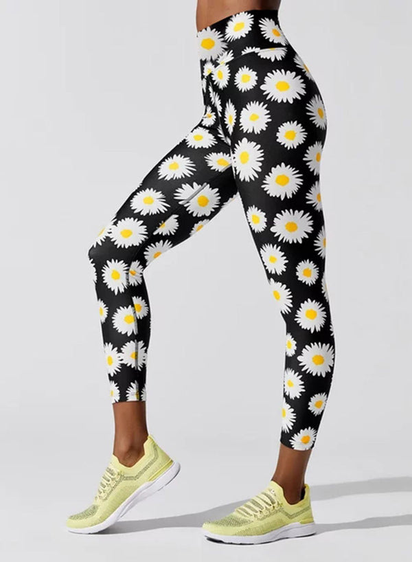 Daisy Print High Waist Leggings