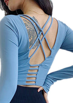 Load image into Gallery viewer, Spaghetti Strap Long Sleeve Yoga Top