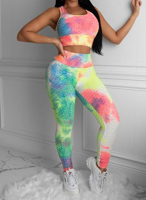 Woemn Tie Dyed Sports Tops and Leggings Sets