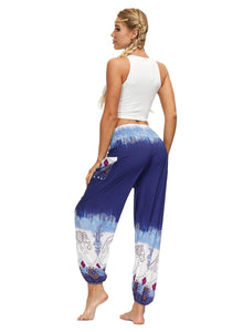 Women Elastic Waistband Loose Casual Pants Bohemia Bloomers