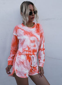 Tie Dyed Long Sleeve Crop Top and Casual Short Set