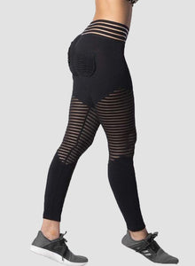 Women's Ruched Hollow Mesh Split Joint Yoga Pants-JustFittoo