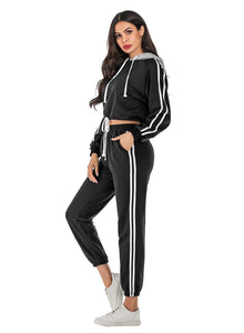 Long Sleeve Crop Top  Casual Sport Two Pieces