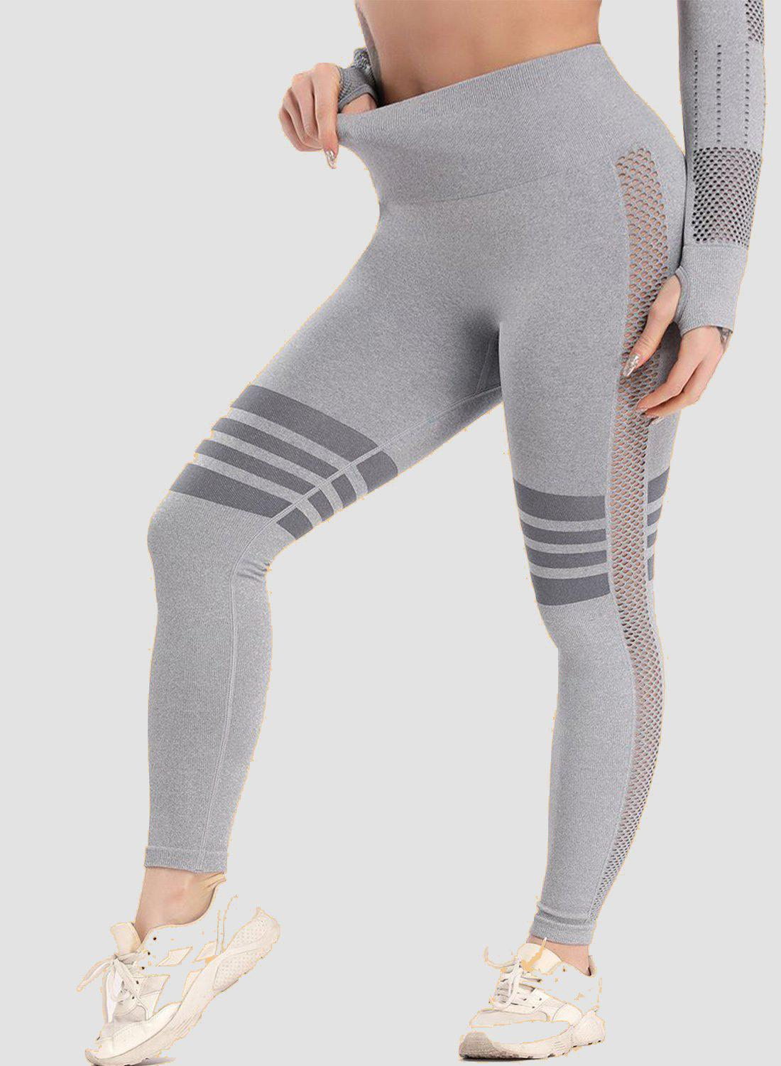 Hollow Seamless High Waist Stripes Yoga Pants-JustFittoo