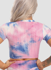 Women Fashion Summer Sports Tie Dyed Sports Tops