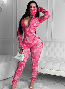 Ruched Tie Dyed Long Sleeve V Neck Women Tight Jumpsuit