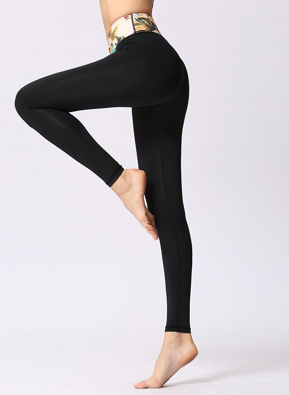 Solid Color Women Black Sports Leggings