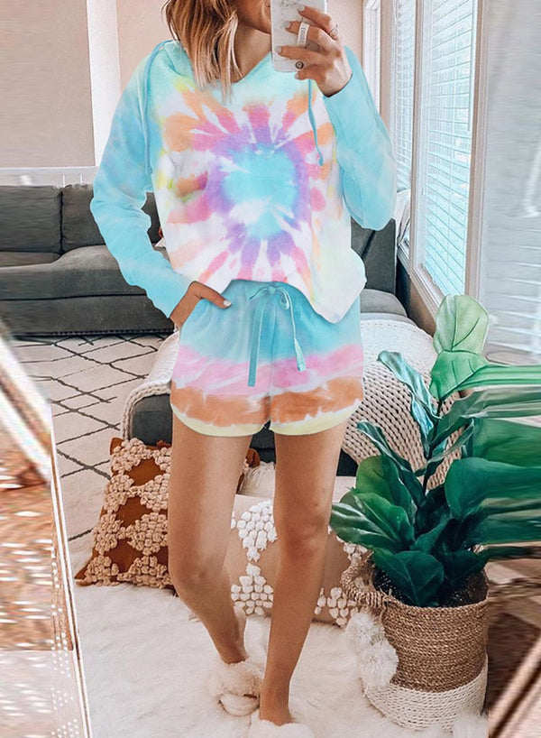 Tie-dyed Gradient Color Long Sleeve and Short Suit