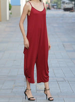 Load image into Gallery viewer, Women Plus Size Loose Wide Leg Low Neck Jumpsuit