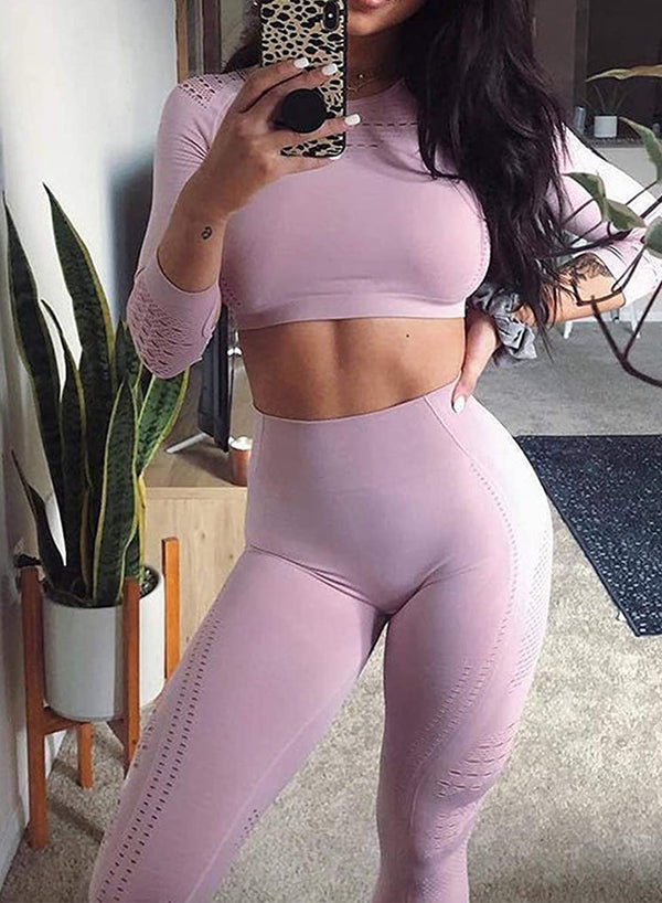 Women's Seamless Long Sleeve Hollow Crop Top