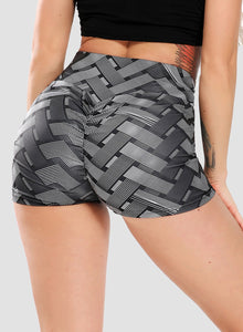 Ruched Butt Lifting Braided Print Shorts