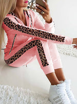 Load image into Gallery viewer, Women Long Sleeve Leopard Sport Two Pieces Set