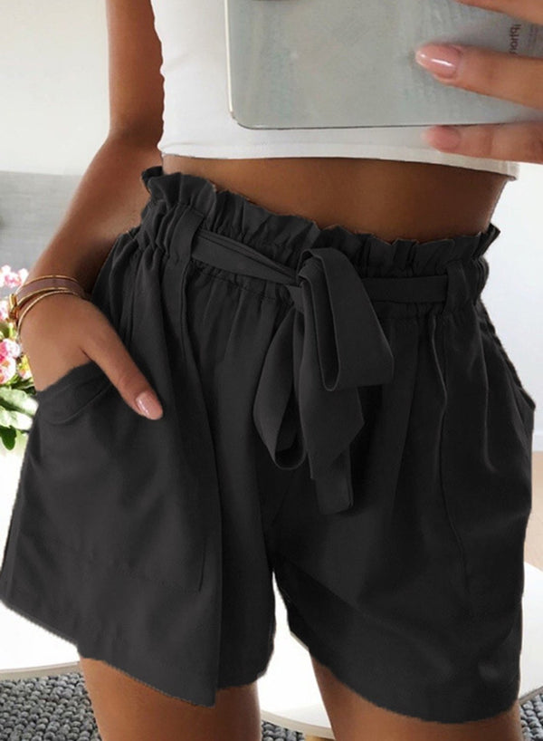 Elastic Waistband Paper Bag Shorts