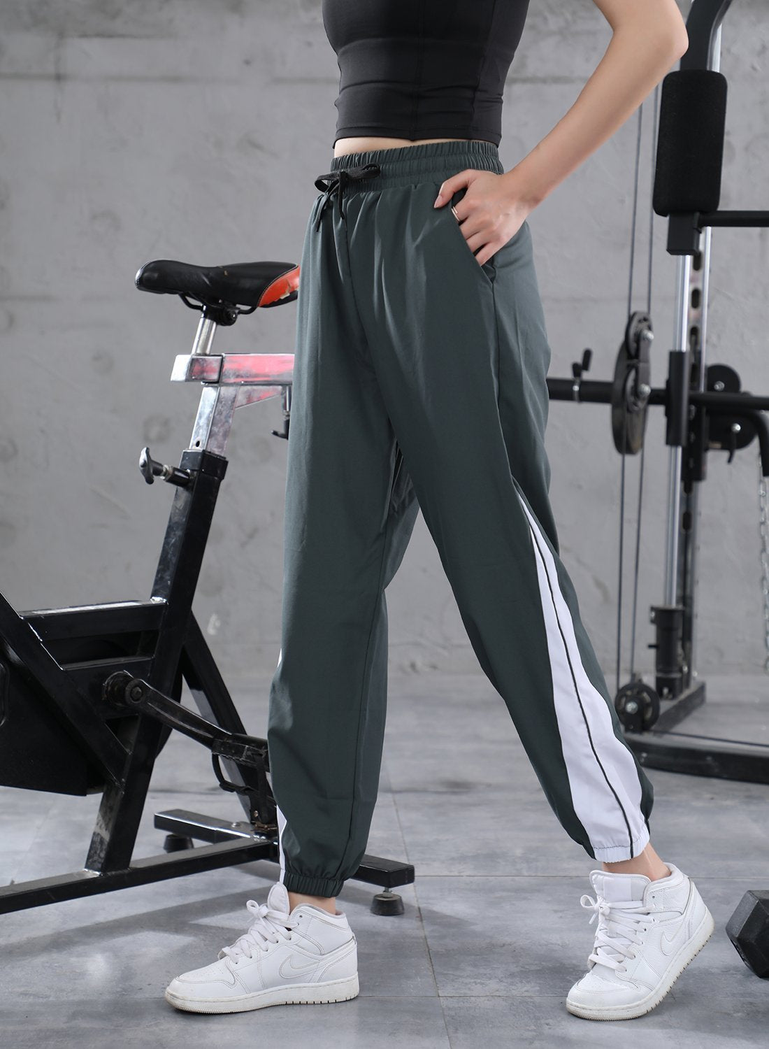 Two-tone Elasticated Drawstring Waistband Casual Pants