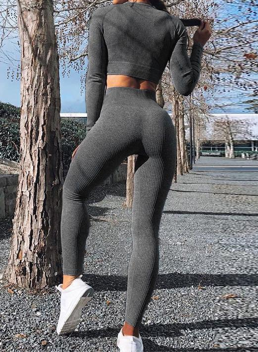 Three Color Soft Long Sleeve Bare Midriff and Legging Set