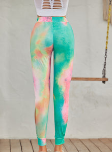 Ruched Thigh-high Slit Tie-dyed Pants