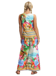 Colorful Floral Print Bohemia Wide Legs Jumpsuits