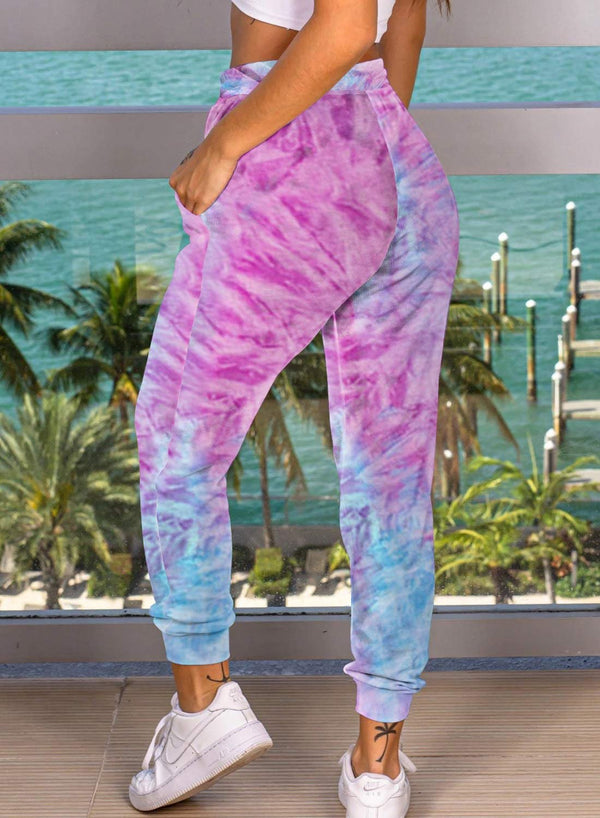 Tie-dyed Elastica Waistband Comfy Pants