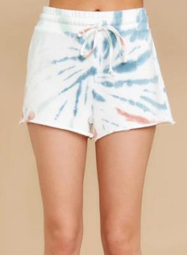 Elasticated Waistband Unhemmed Tie-dyed Casual Shorts