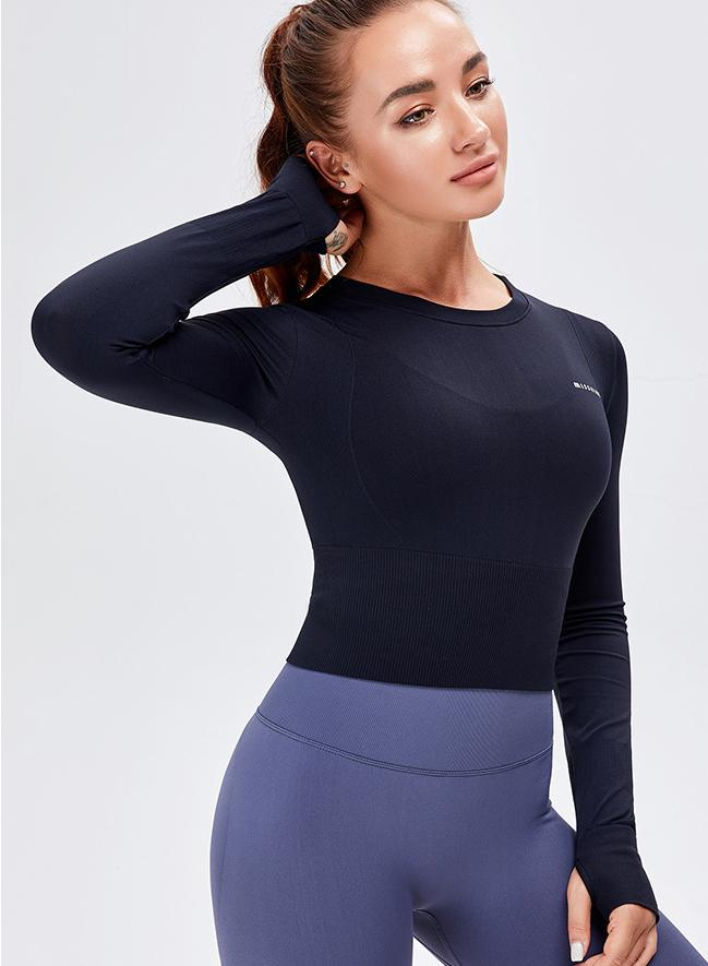 Women Long Sleeve Crop Sport Tops