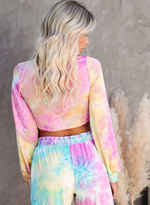 Fashion Style Tie Dyed Fall Casual Long Sleeve Two Pieces Sets