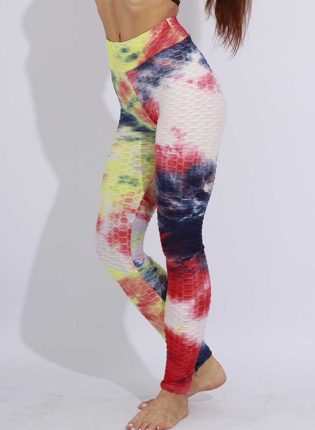 Fittoo Tie-dyed Textured Ruched Leggings Women Gym Sports Leggings