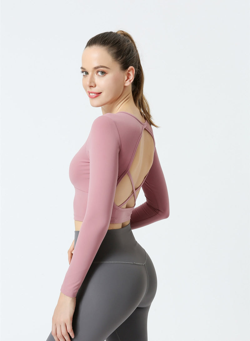 Long Sleeve Pilates Crop Yoga Sport Shirts
