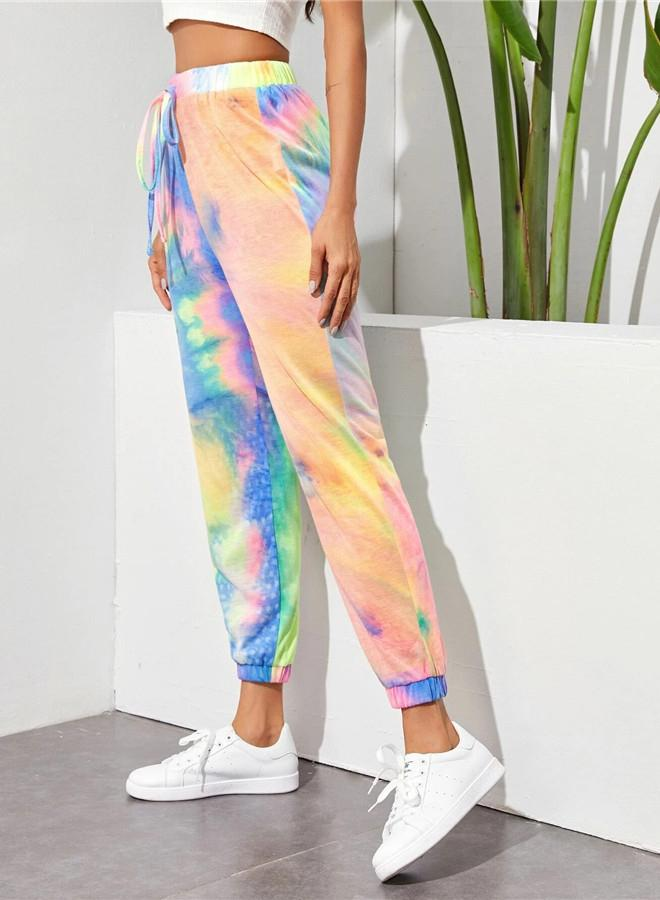 Summer Fashion Women Tie-dyed Drawstring Pants
