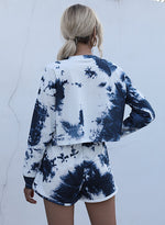 Load image into Gallery viewer, Tie Dyed Long Sleeve Crop Top and Casual Short Set