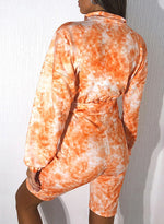 Load image into Gallery viewer, Fashion Tie-dyed Long Sleeve Knee Length Jumpsuit