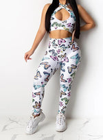Load image into Gallery viewer, Women Butterfly Design Backless Top and Legging Sets