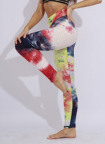 Load image into Gallery viewer, Fittoo Tie-dyed Textured Ruched Leggings Women Gym Sports Leggings