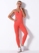 Load image into Gallery viewer, Sexy V-neck Seamless Backless Women Sports Jumpsuit